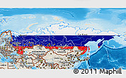 Flag 3D Map of Russia, shaded relief outside
