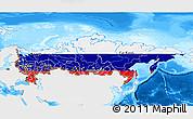 Flag 3D Map of Russia, single color outside, bathymetry sea