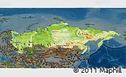 Physical 3D Map of Russia, darken