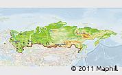 Physical 3D Map of Russia, lighten