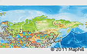 Physical 3D Map of Russia, political outside, shaded relief sea