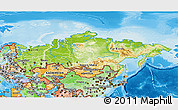 Physical 3D Map of Russia, political shades outside, shaded relief sea