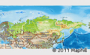 Physical 3D Map of Russia, satellite outside, shaded relief sea