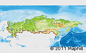 Physical 3D Map of Russia, single color outside