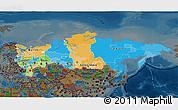 Political 3D Map of Russia, darken