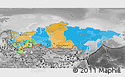 Political 3D Map of Russia, desaturated