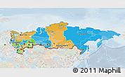 Political 3D Map of Russia, lighten