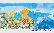 Political 3D Map of Russia, physical outside