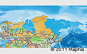 Political 3D Map of Russia, political shades outside