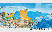 Political 3D Map of Russia, satellite outside, bathymetry sea