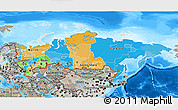 Political 3D Map of Russia, semi-desaturated, land only