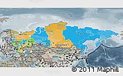 Political 3D Map of Russia, semi-desaturated