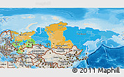 Political 3D Map of Russia, shaded relief outside, bathymetry sea
