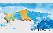 Political 3D Map of Russia, single color outside