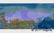 Political Shades 3D Map of Russia, darken