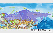Political Shades 3D Map of Russia, physical outside