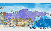 Political Shades 3D Map of Russia, satellite outside, bathymetry sea