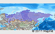 Political Shades 3D Map of Russia, semi-desaturated, land only