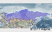 Political Shades 3D Map of Russia, semi-desaturated