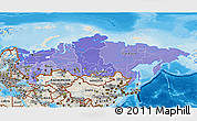 Political Shades 3D Map of Russia, shaded relief outside, bathymetry sea