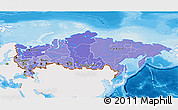 Political Shades 3D Map of Russia, single color outside