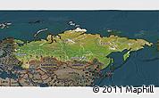 Satellite 3D Map of Russia, darken