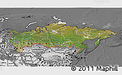 Satellite 3D Map of Russia, desaturated