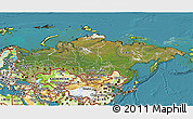 Satellite 3D Map of Russia, physical outside, satellite sea