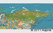 Satellite 3D Map of Russia, political outside, satellite sea
