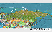 Satellite 3D Map of Russia, political shades outside, satellite sea