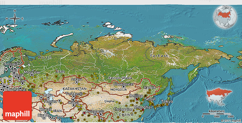 Satellite 3D Map of Russia