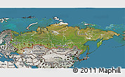 Satellite 3D Map of Russia, semi-desaturated, land only