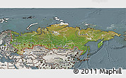 Satellite 3D Map of Russia, semi-desaturated