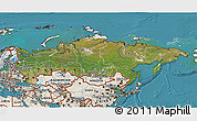 Satellite 3D Map of Russia, shaded relief outside, satellite sea