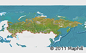 Satellite 3D Map of Russia, single color outside
