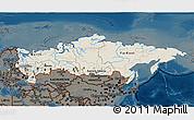 Shaded Relief 3D Map of Russia, darken