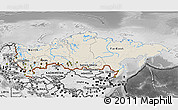 Shaded Relief 3D Map of Russia, desaturated