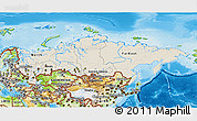 Shaded Relief 3D Map of Russia, physical outside