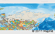 Shaded Relief 3D Map of Russia, political outside, shaded relief sea