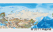 Shaded Relief 3D Map of Russia, satellite outside, shaded relief sea