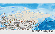 Shaded Relief 3D Map of Russia, semi-desaturated, land only