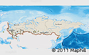 Shaded Relief 3D Map of Russia, single color outside