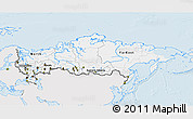 Silver Style 3D Map of Russia, single color outside