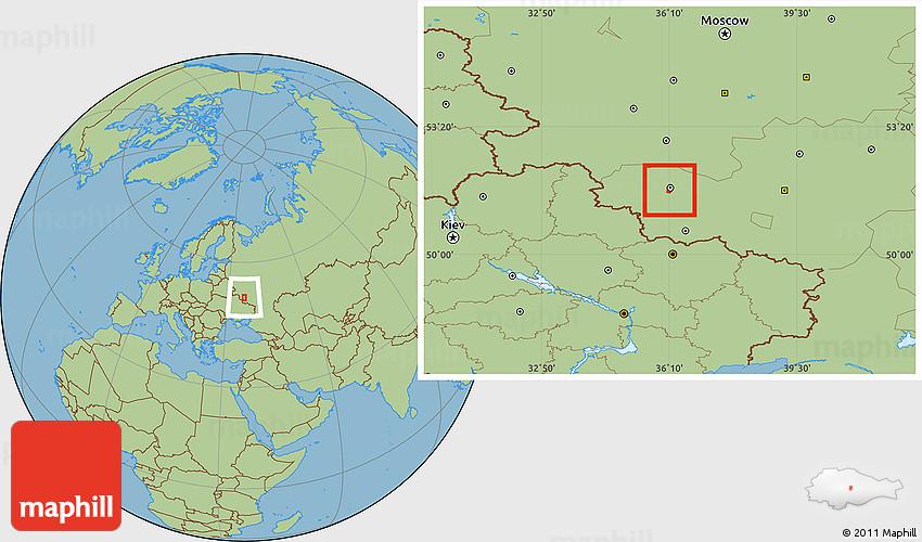 Savanna Style Location Map Of Kursk - Kursk map