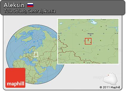 Free Savanna Style Location Map of Aleksin