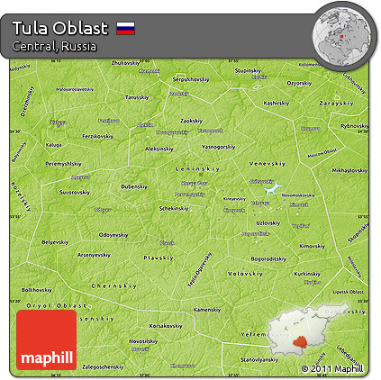 Free Physical Map of Tula Oblast