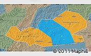 Political Map of Agin-Buryat Autonomous Okrug, semi-desaturated