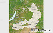Shaded Relief Map of Chita Oblast, satellite outside