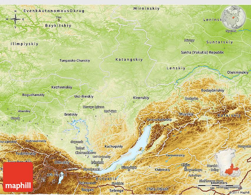 Physical 3D Map of Irkutsk Oblast