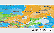 Political Shades Panoramic Map of Irkutsk Oblast